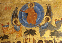 Спаситель в мандорле, несомой ангелами (Вознесение). XIV в