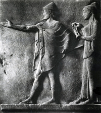Гермес и хариты. Фрагмент рельефа с острова Фасоса. Мрамор. 470—460 гг. до н.э. Париж. Лувр
