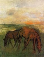 Две лошади на пастбище (Э. Дега, ок. 1871 г.)