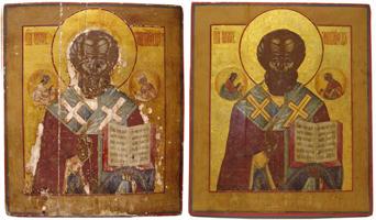 Икона Св. Николая Чудотворца Мирликийский до и после реставрации