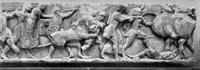 Северный фриз сокровищницы сифнийцев. Мрамор. Около 525 до н. э. Музей. Дельфы.