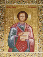 Икона святого великомученика и целителя Пантелеимона (дерево левкас темпера резьба по левкасу золочение)