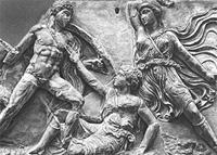 Ахилл сражается с Пенсифелеей (Фрагмент восточного фриза храма Аполлона в Бассах. Конец V в. до н.э.)