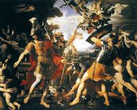 Битва Энея с гарпиями (Франсуа Перье, 1647)