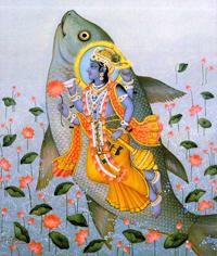 Первое воплощение Вишну - матсья (в образе рыбы)