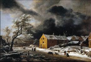 Зимний вечер (Якоб ван Рейсдал. 1670)