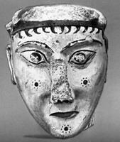 Маска. Из Микен. Расписной стук. 14—13 вв. до н. э. Национальный археологический музей, Афины