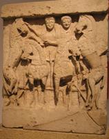 Деметра и Кора на колеснице. Метопа Храма малых метоп. Селинунт. VI в. до н.э. Палермо, Национальный музей