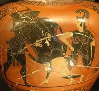 Геракл сражается против амазонок. Чернофигурный стиль. Ок. 530 г. до н.э. Лувр. Париж