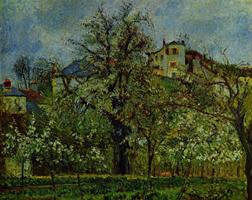 Цветущие деревья в саду (Камиль Писсарро)