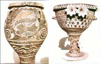 Пифос с росписью, кратер с росписью и скульптурным декором из дворца в Фесте. Керамика. Музей г. Ираклион