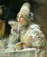 За чаем (К.Е. Маковский, 1914 г.)