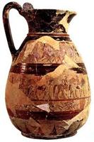 Протокоринфский кувшин из собрания Киджи. VII в. до н.э. Рим, Вилла Юлия
