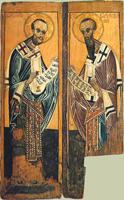 Василий Великий Иоанн Златоуст (Царские ворота, конец XIV в.)