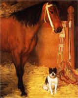 В конюшне. Лошадь и собака (Э. Дега, ок. 1861 г.)