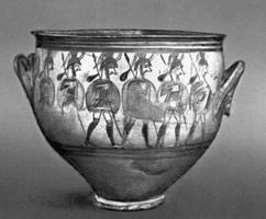 Кратер с изображением процессии воинов. Микены. Около 1200 до н.э. Национальный археологический музей, Афины.