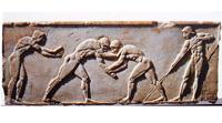 Борцы (Барельеф с афинского Акрополя. Ок. 500 г. до н.э.)