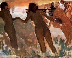 Крестьянки купаются в море на закате (Э. Дега, ок. 1875 г.)