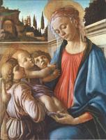 Мадонна с младенцем и двумя ангелами ( Сандро Боттичелли. 1468 г.)