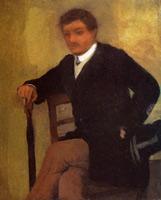 Сидящий мужчина в пиджаке и с зонтом (Э. Дега)