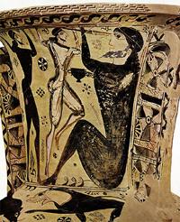 Одиссей и циклоп (Древняя аттическая амфора. Ок 700 г. до н.э.)