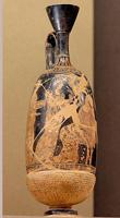 Лекиф с изображением женщин в сопровождении Эроса и Афродиты в стиле вазописца Мидия. 410—400 гг. до н.э. Париж. Лувр