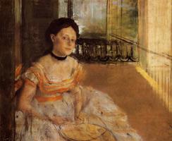 Женщина, сидящая на балконе (Э. Дега, 1872-1873 гг.)
