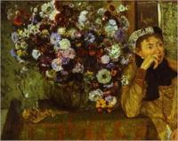 Женщина с хризантемами (Э. Дега)