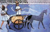 Колесничий и воин в шлемах из кабаньих клыков, реконструкция фрески из Пилоса (XIII в. до н.э.)