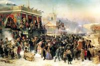 Народное гулянье во время масленицы на Адмиралтейской площади в Петербурге (К. Маковский. 1869 г.)