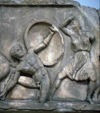 Битва греков с амазонками (Скопас. Фрагмент фриза Геликарнасского мавзолея. IV в. до н.э.)