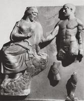 Афина и Геракл со стимфалийскими птицами. Метопа. Храм Зевса в Олимпии. 468-456 гг. до н.э. Олимпия, музей