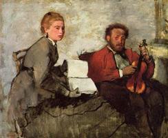 Скрипач и девушка с музыкальной тетрадью (Э. Дега, ок. 1871 г.)