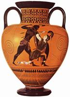 Эксекий. Ахилл убивает Пенфесилею. Амфора. VI в. до н.э.