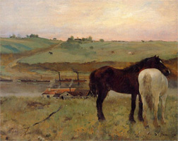 Лошади на лугу (Э. Дега, 1871 г.)