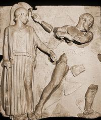 Геракл, очищающий Авгиевы конюшни (Метопа храма Зевса в Олимпии)