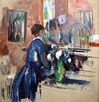 Дама в голубом напротив зеркала (Рик Ваутерс)