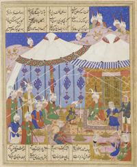 Хосров и Ширин пируют ночью на стоянке в пустыне (Иллюстрации к Хамсе, 1548г.)