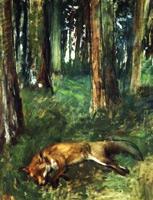 Мёртвая лиса в подлеске (Э. Дега, 1865 г.)