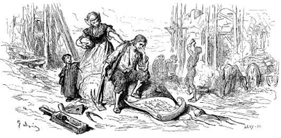 Иллюстрация к басне Члены тела и Желудок (Г. Доре)