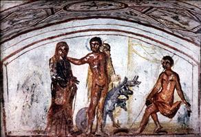 Геракл и Цербер. Италия, Via Latina, катакомбная фреска, IV век н. э.