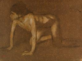 Ползущий обнаженный юноша (Э. Дега, ок. 1860 г.)