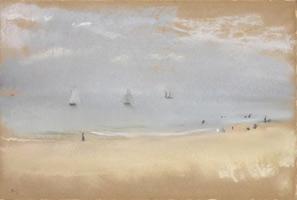 На берегу моря, на пляже, три парусника вдали (Э. Дега, ок. 1869 г.)