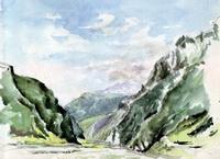 У Дарьяльского ущелья, Военно-Грузинская дорога (В.Ф. Балашов)
