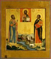 Святомученики Флор и Лавр в предстоянии иконе Спас Вседержитель