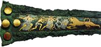 Кинжал с изображением львиной охоты. Национальный археологический музей, Афины (ок. 1550 г. до н.э.)