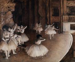 Репетиция балета на сцене (Э. Дега, 1874 г.)