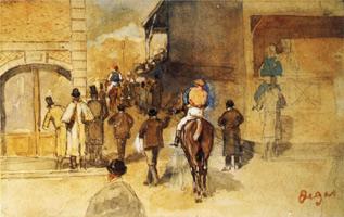Жокеи после взвешивания (Э. Дега, 1866 г.)