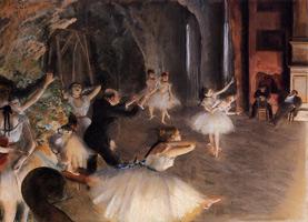 Репетиция балета на сцене (Э. Дега, ок. 1874 г.)