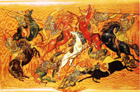 Охота на оленя (И.И. Голиков, cамшитовый портсигар, 1930)